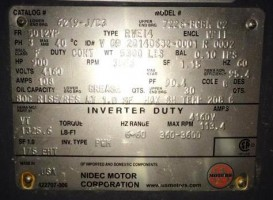 US Electric - NIDEC Motor Corporation  Vertical Solid Shaft - Inverter Duty  900  HP